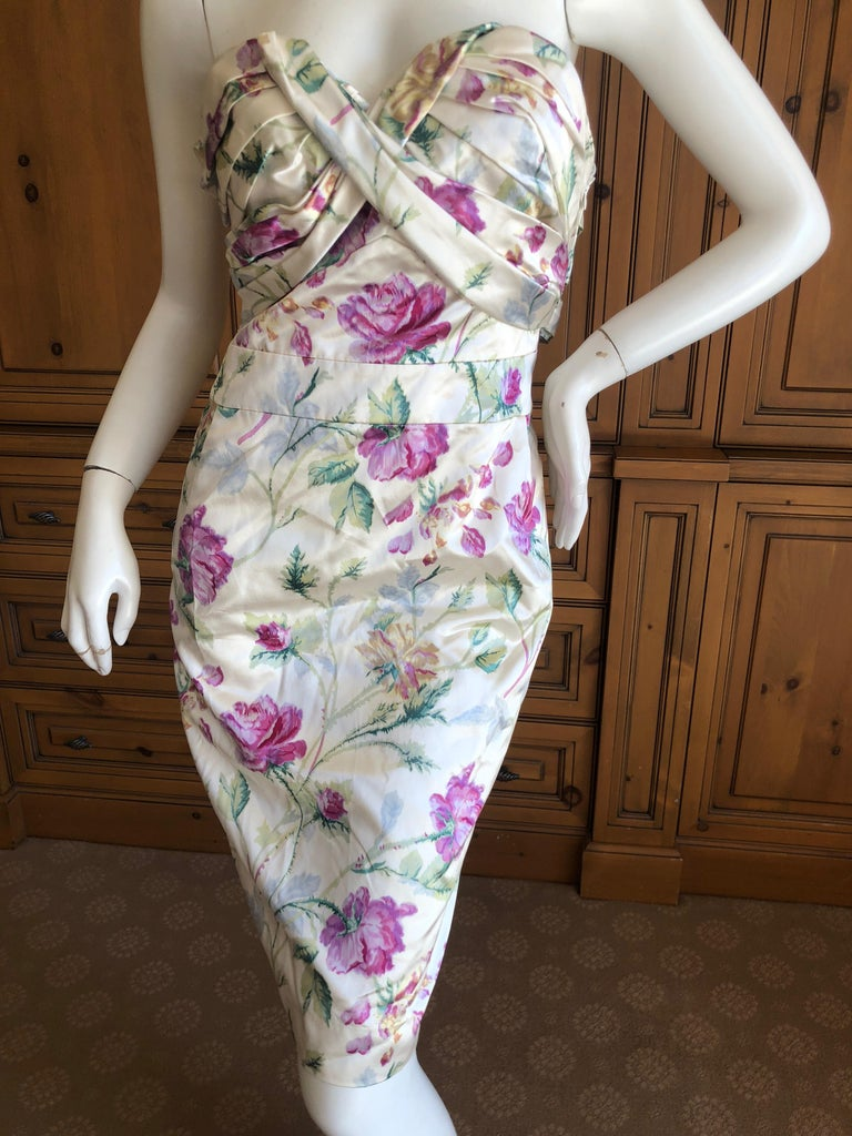 Gray Christian Dior by John Galliano Strapless Corseted Silk Floral Cocktail Dress  For Sale