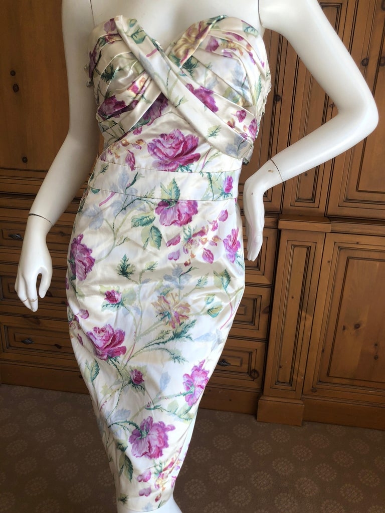 Christian Dior by John Galliano Strapless Corseted Silk Floral Cocktail Dress  In Excellent Condition For Sale In San Francisco, CA