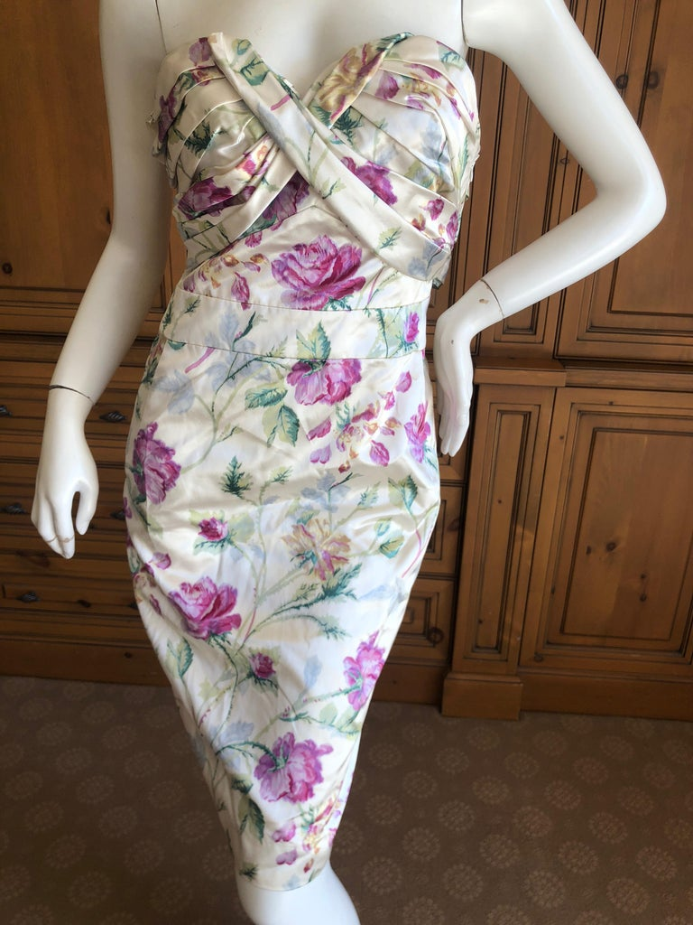 Christian Dior by John Galliano Strapless Corseted Silk Floral Cocktail Dress  For Sale 1