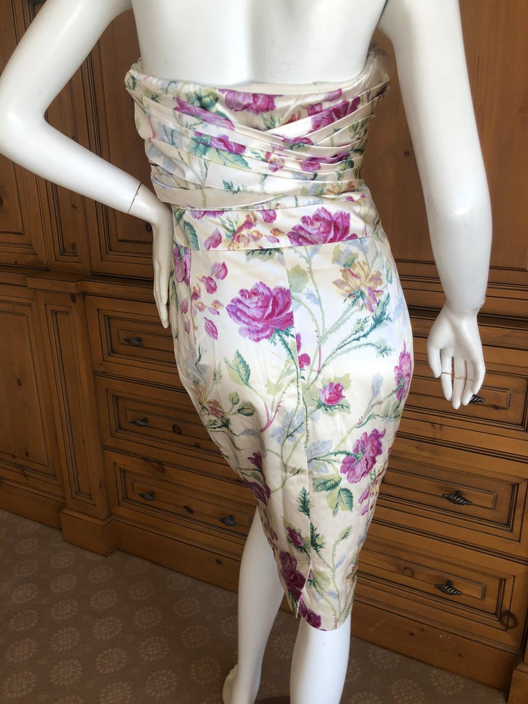 Christian Dior by John Galliano Strapless Corseted Silk Floral Cocktail Dress  For Sale 2