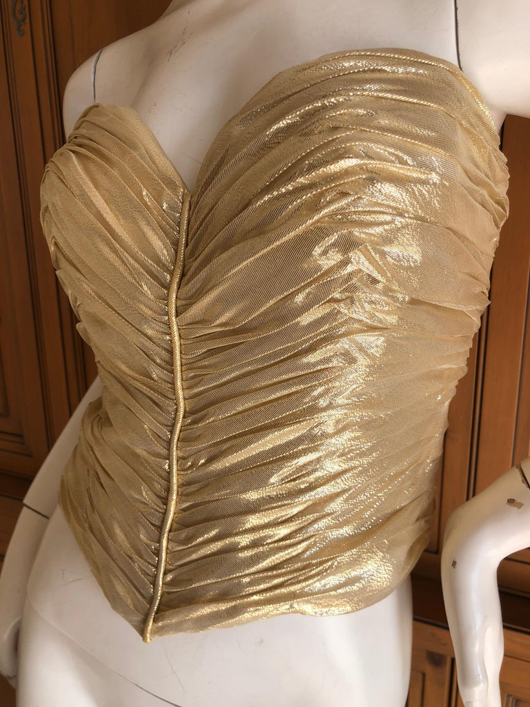 Blue Loris Azzaro Couture Vintage 1970's Gold Corset Size 44 For Sale