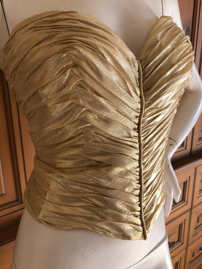 Women's Loris Azzaro Couture Vintage 1970's Gold Corset Size 44 For Sale