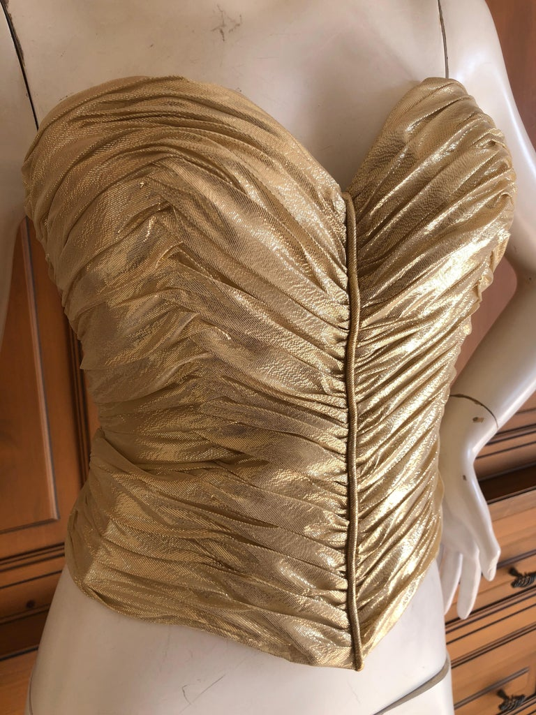 Loris Azzaro Couture Vintage 1970's Gold Corset Size 44 For Sale 1