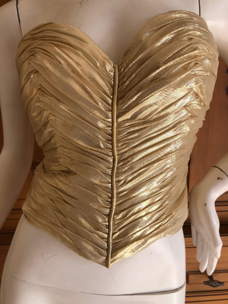 Loris Azzaro Couture Vintage 1970's Gold Corset Size 44 For Sale 2