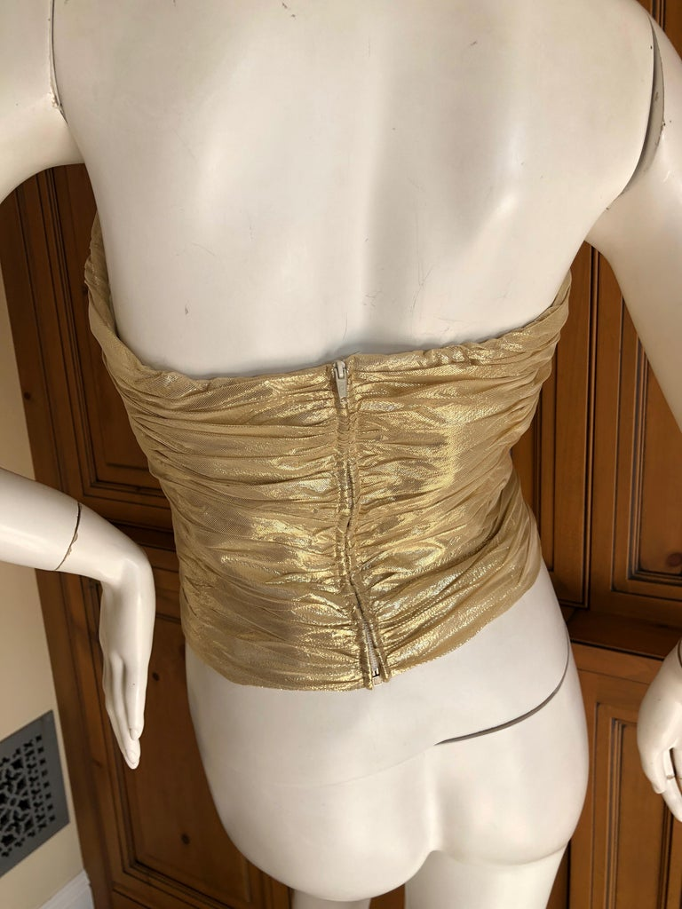 Loris Azzaro Couture Vintage 1970's Gold Corset Size 44 For Sale 4
