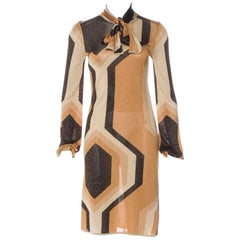 Gucci by Tom Ford Fall 2000 Gold Geometric Print Dress with Pussy Bow