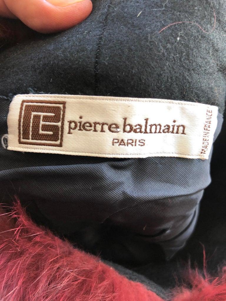 Pierre Balmain Haute Couture Vintage Fox Fur Burgundy Hat For Sale 1