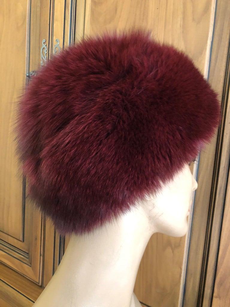 Black Pierre Balmain Haute Couture Vintage Fox Fur Burgundy Hat For Sale