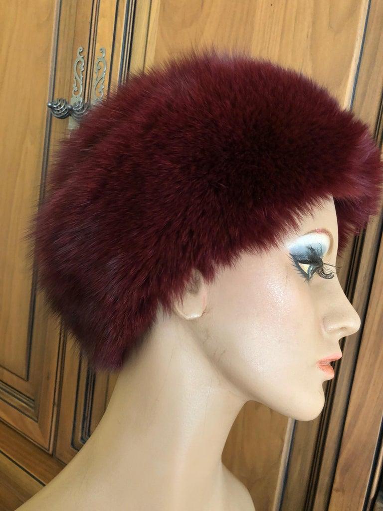 Pierre Balmain Haute Couture Vintage Fox Fur Burgundy Hat In Excellent Condition For Sale In San Francisco, CA