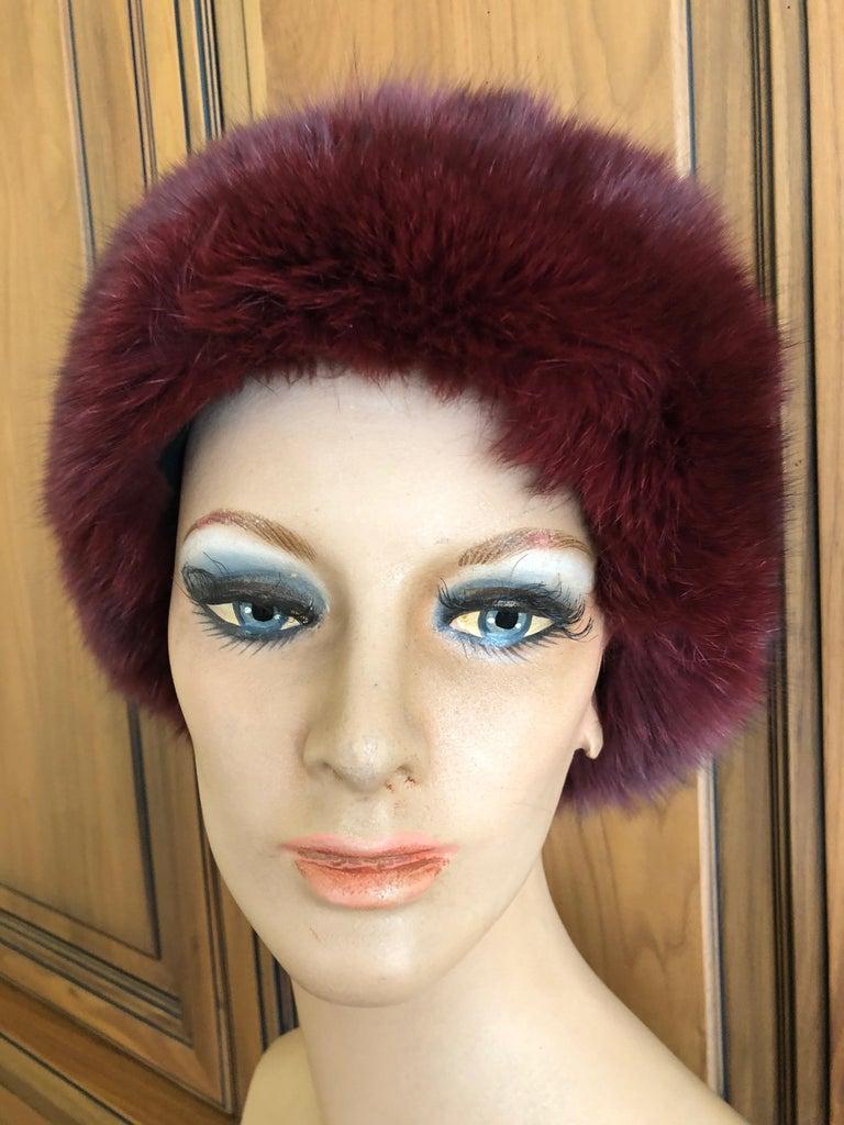 Pierre Balmain Haute Couture Vintage Fox Fur Burgundy Hat 24.5 inch circumfrence