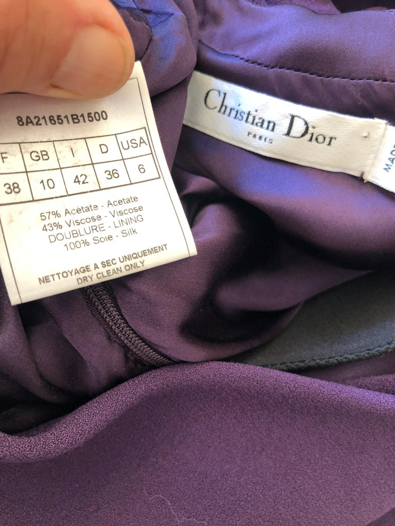 Christian Dior by John Galliano Purple Vintage Silk Lined Evening Dress w Shawl For Sale 4