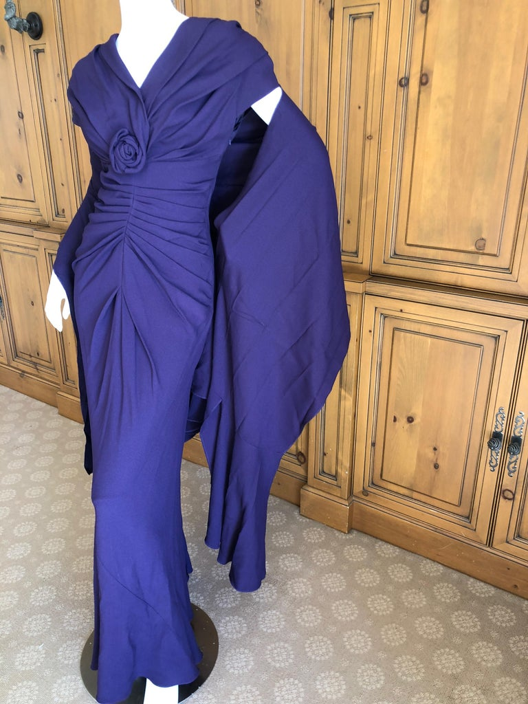 Christian Dior by John Galliano Purple Vintage Silk Lined Evening Dress w Shawl In Excellent Condition For Sale In San Francisco, CA