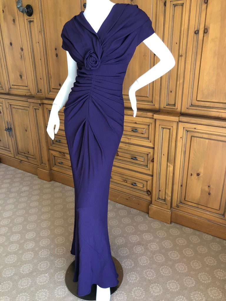 Christian Dior by John Galliano Purple Vintage Silk Lined Evening Dress w Shawl For Sale 1