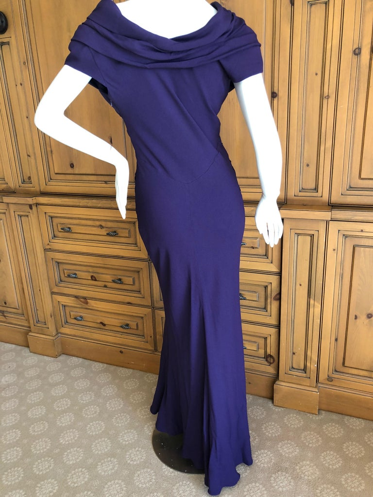 Christian Dior by John Galliano Purple Vintage Silk Lined Evening Dress w Shawl For Sale 2