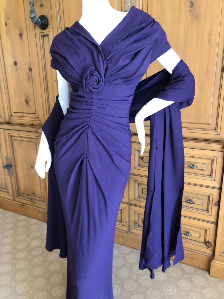 Christian Dior by John Galliano Purple Vintage Silk Lined Evening Dress w Shawl For Sale 3