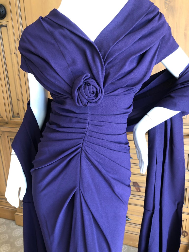Christian Dior by John Galliano Purple Vintage Silk Lined Evening Dress w Shawl This is so pretty, please use the zoom to see the details. Size 38  Bust 38