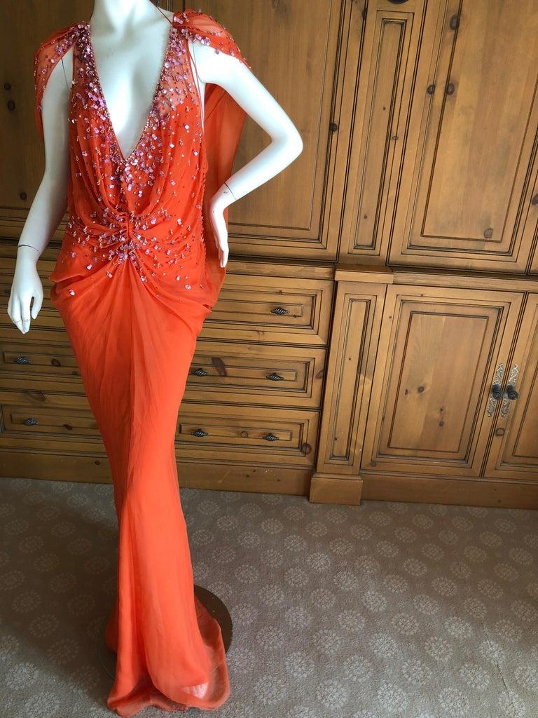 Gray Christian Dior by John Galliano Low Cut Embellished Orange Silk Evening Dress For Sale
