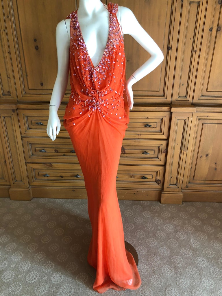 Christian Dior by John Galliano Low Cut Embellished Orange Silk Evening Dress. This is so pretty, please use the zoom to see the details. Size 38  Bust 36