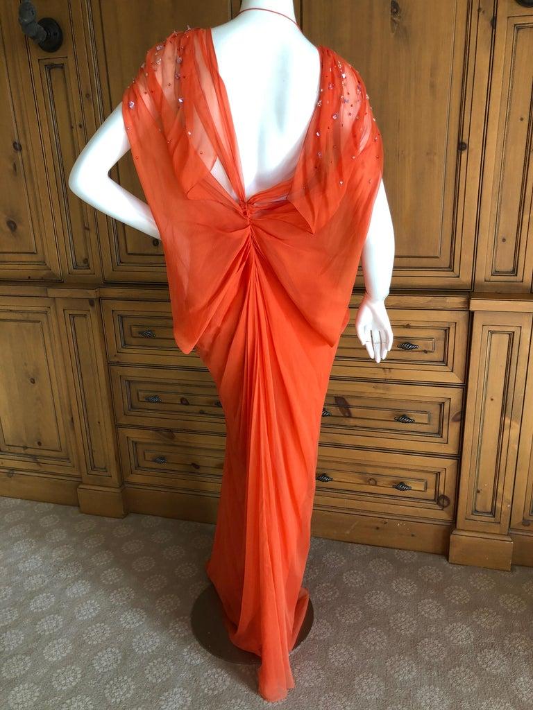 Women's Christian Dior by John Galliano Low Cut Embellished Orange Silk Evening Dress For Sale