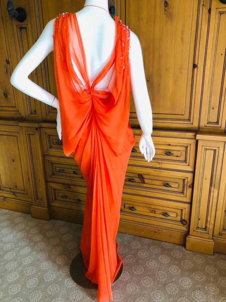 Christian Dior by John Galliano Low Cut Embellished Orange Silk Evening Dress For Sale 1