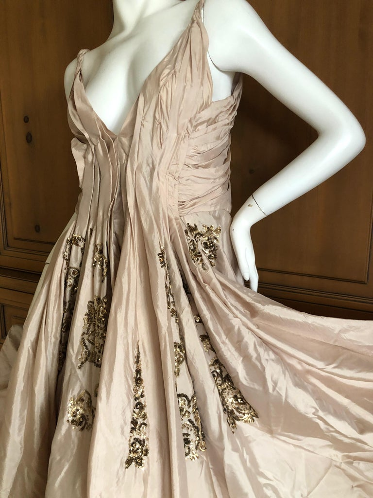 Dior by John Galliano S/S 2007 Voluminous Balloon Evening Dress w Sequin Flowers In Excellent Condition For Sale In San Francisco, CA
