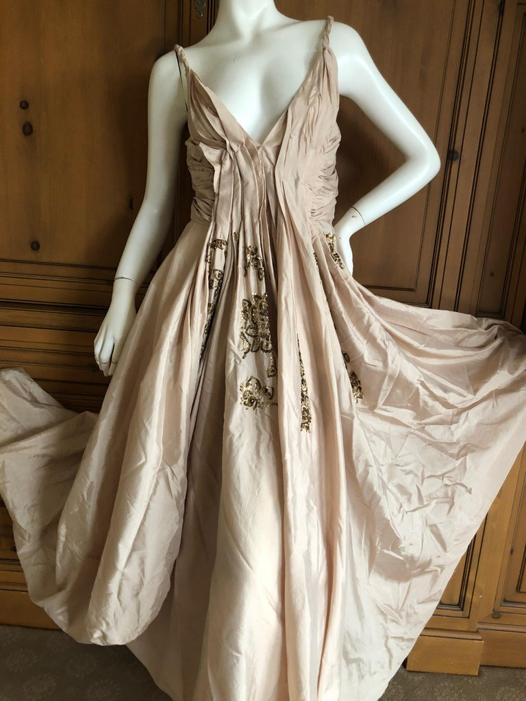 Dior by John Galliano S/S 2007 Voluminous Balloon Evening Dress w Sequin Flowers For Sale 2
