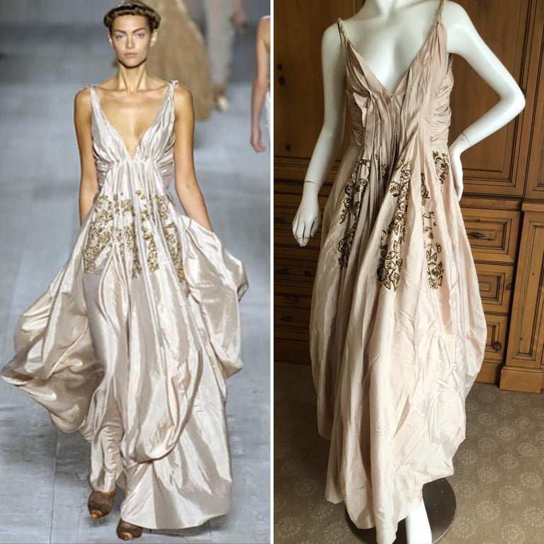 Christian Dior by John Galliano Evening Dress with Gold Sequin Floral Details from Spring 2007 This is so pretty, with miles of silk in the skirt. Size 40 French 8 US  Bust 36