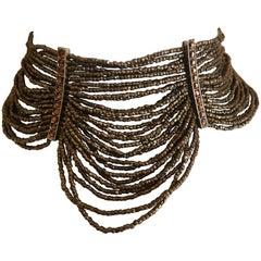 "Christian Dior by John Galliano Multi Strand Bronze ""Massai "" Choker Necklace"