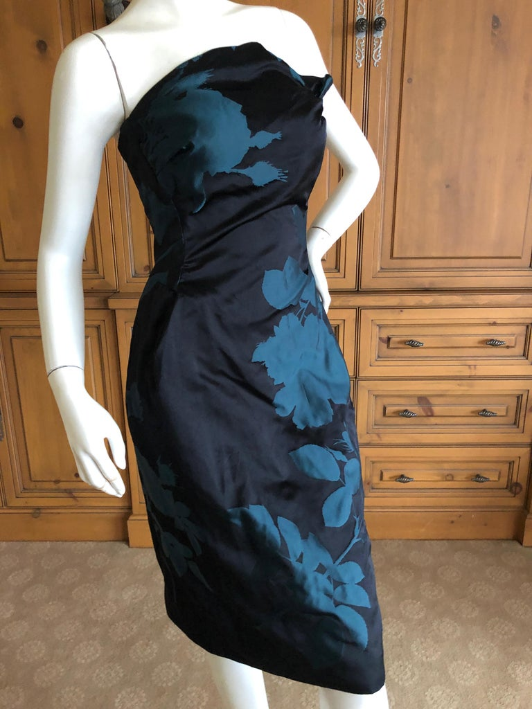Vivienne Westwood Gold Label Midnight and Teal Blue Silk Floral Strapless Dress.   Size 10UK 6 US  Bust 34