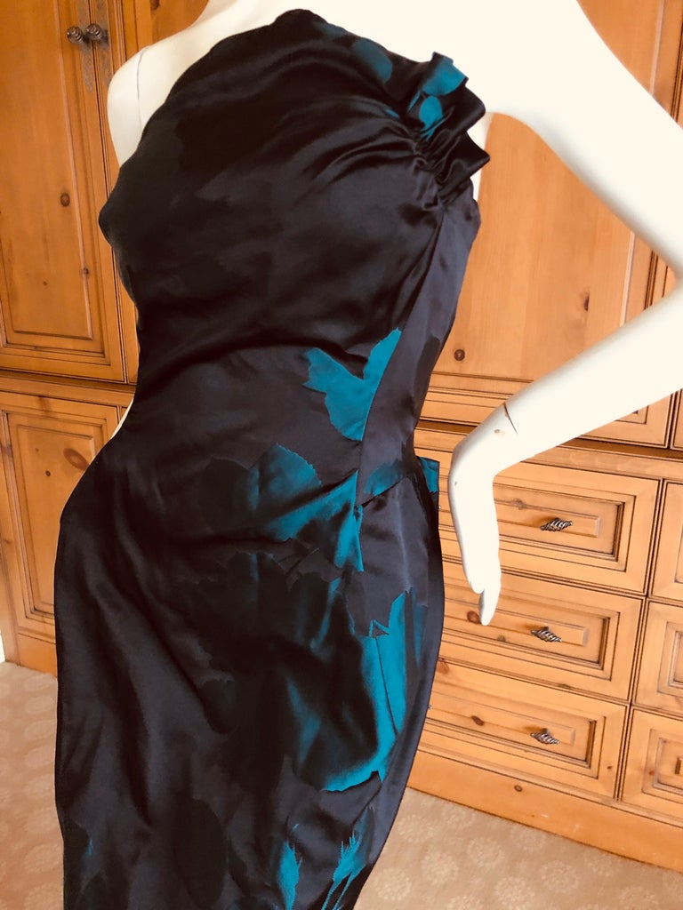Women's Vivienne Westwood Gold Label Midnight and Teal Blue Silk Floral Strapless Dress For Sale