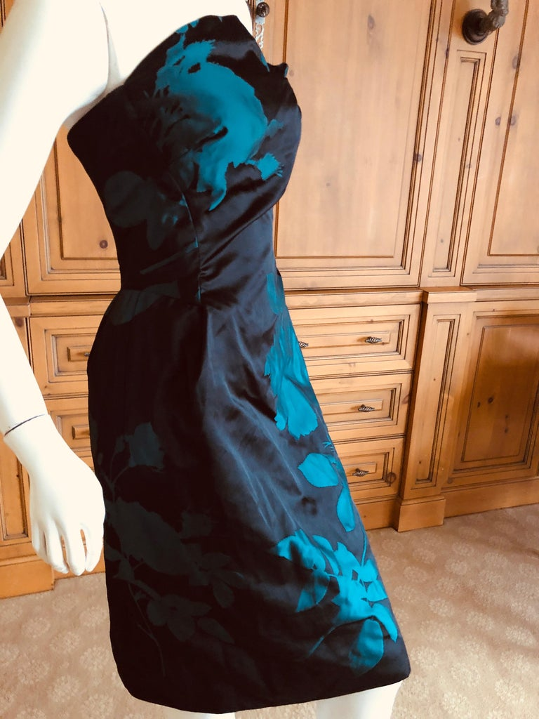 Vivienne Westwood Gold Label Midnight and Teal Blue Silk Floral Strapless Dress For Sale 2