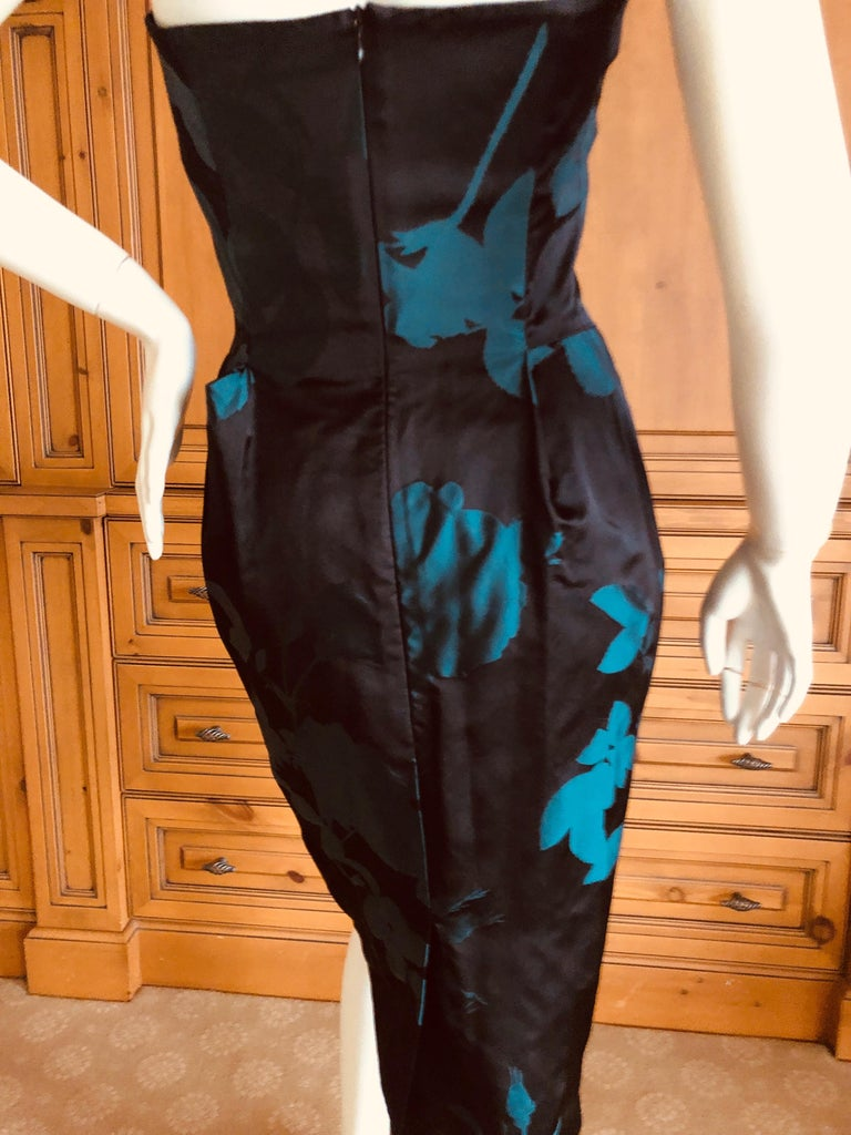 Vivienne Westwood Gold Label Midnight and Teal Blue Silk Floral Strapless Dress For Sale 3