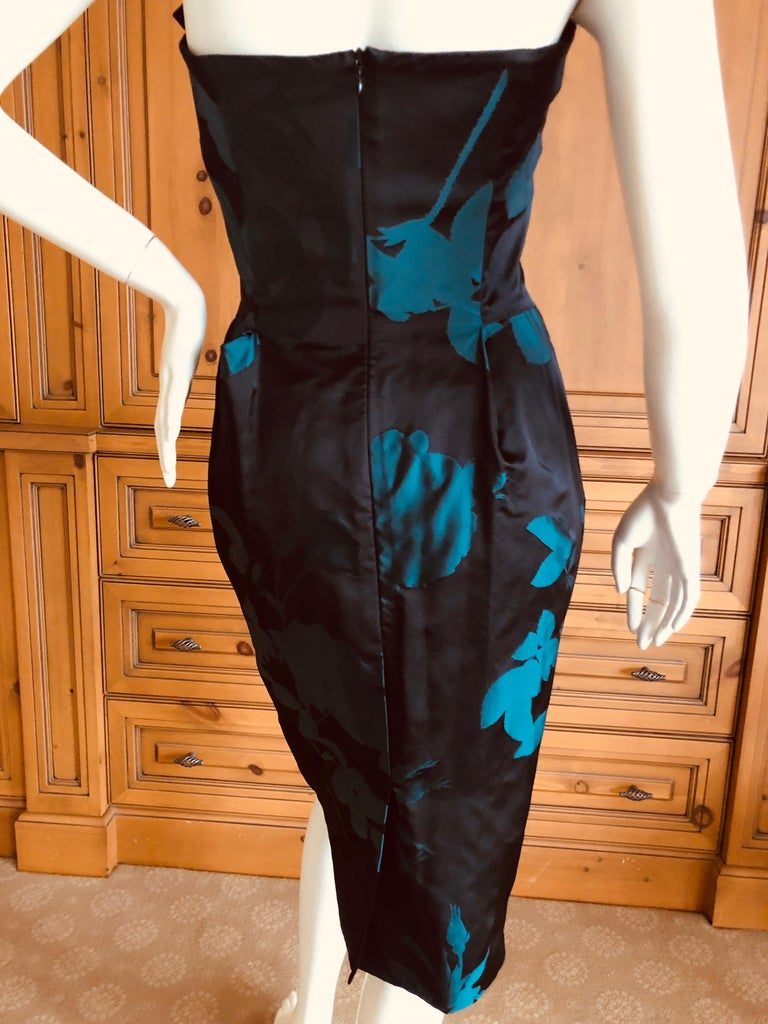 Vivienne Westwood Gold Label Midnight and Teal Blue Silk Floral Strapless Dress For Sale 4