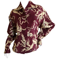 Christian Lacroix Vintage Silk Blouse with Christian Berard Cherub Print