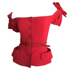 "Christian Dior by John Galliano  Red ""Eva"" Jacket Resort 2011 Size 46"