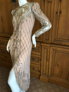 Bob Mackie Nieman Marcus Crystal Beaded Sheer Evening Dress, 1980s