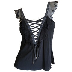 Christian Dior by John Galliano Black Sleeveless Ruffle Top with  Corset Lacing