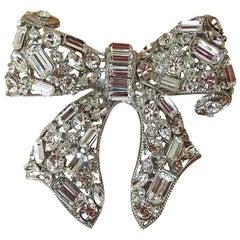 R. Serbin Giant Crystal Bow Brooch Pin