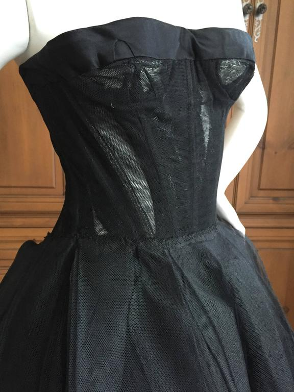 Christian DIor Attr A' 1954 Haute Couture Tulle Boned Bustier Under Dress 2