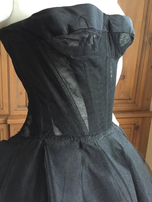 Christian DIor Attr A' 1954 Haute Couture Tulle Boned Bustier Under Dress For Sale 2