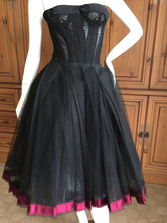 Christian DIor Attr A' 1954 Haute Couture Tulle Boned Bustier Under Dress For Sale 1