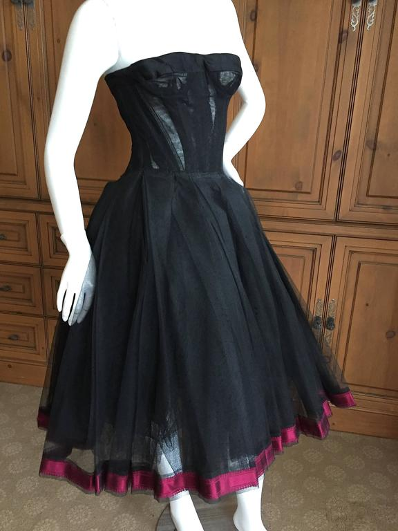 Christian DIor Attr A' 1954 Haute Couture Tulle Boned Bustier Under Dress In Excellent Condition For Sale In San Francisco, CA