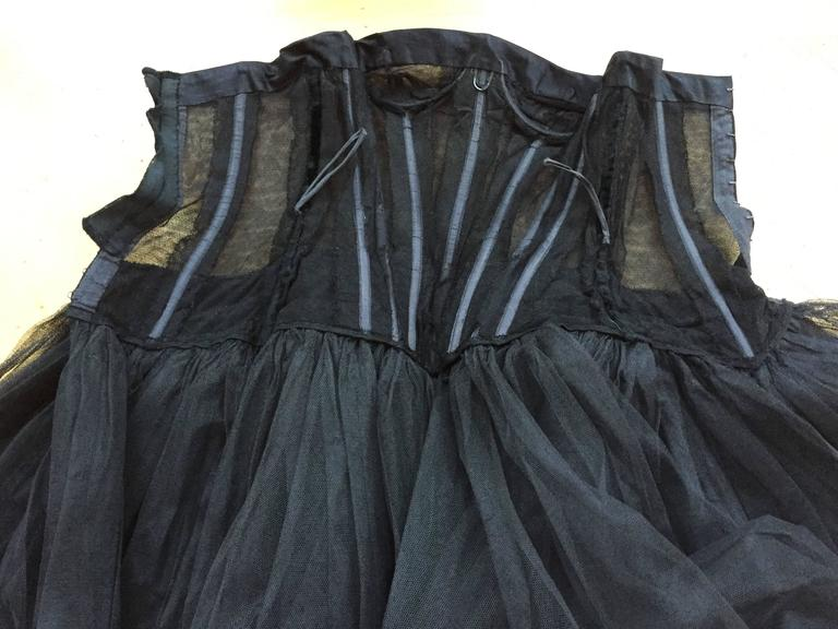 Christian DIor Attr A' 1954 Haute Couture Tulle Boned Bustier Under Dress For Sale 3