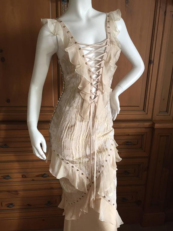Christian Dior by John Galliano Romantic Gold Silk Corset Lace Dress  3