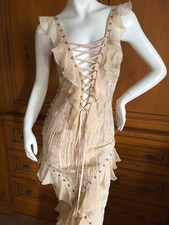 Christian Dior by John Galliano Romantic Gold Silk Corset Lace Dress  7