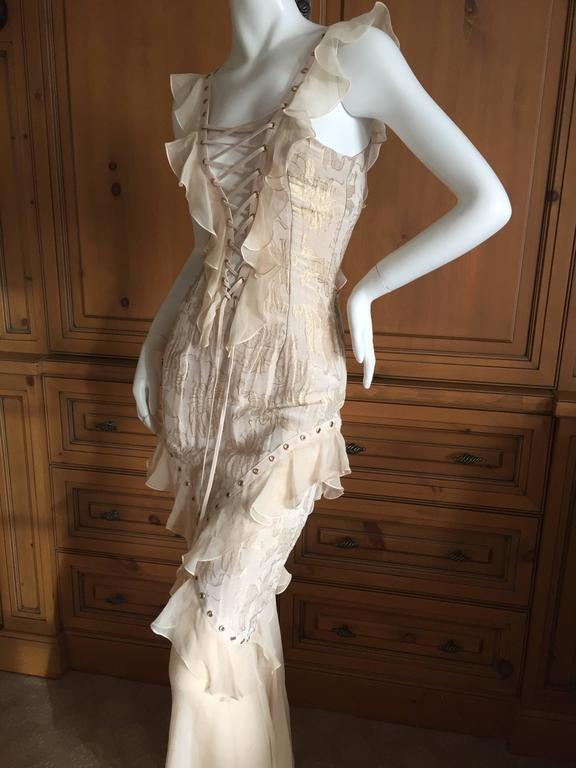 Christian Dior by John Galliano Romantic Gold Silk Corset Lace Dress  2