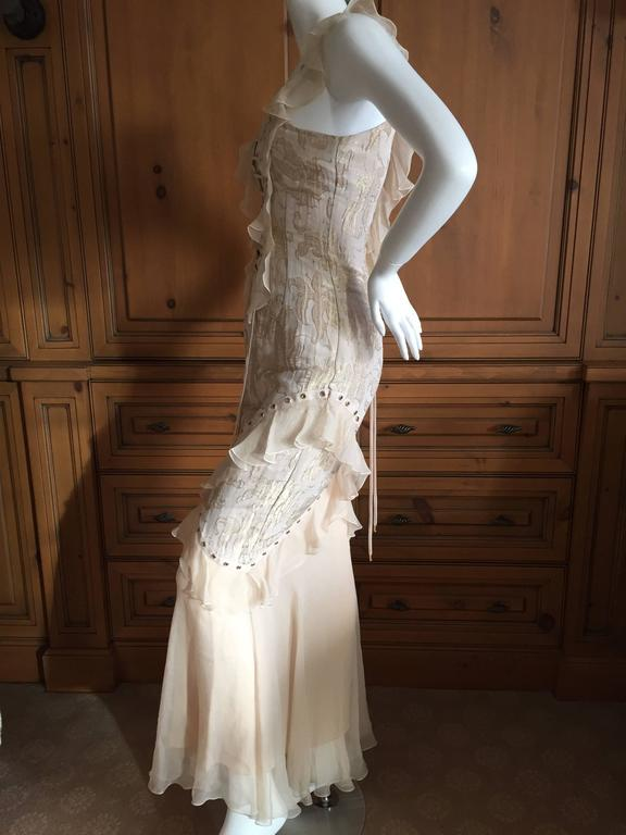 Christian Dior by John Galliano Romantic Gold Silk Corset Lace Dress  8