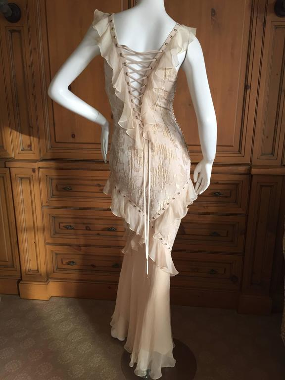 Christian Dior by John Galliano Romantic Gold Silk Corset Lace Dress  4