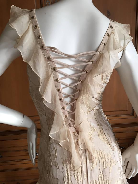 Christian Dior by John Galliano Romantic Gold Silk Corset Lace Dress  5