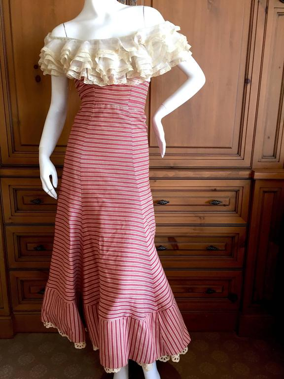 1930's Sweet Stripe Day Dress with Lace Bust and Hem 10